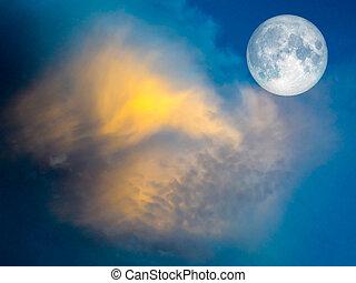 azul, Lleno, cielo, amarillo, luna, nube