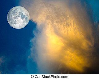 azul, Lleno, oro, cielo, luna, nube