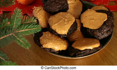 Brownie Cookies With Peanut Butter Top - Plate with brownie...
