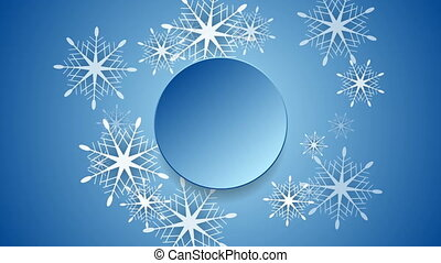 Blue Christmas snowflakes and blank circle video clip....