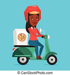 Woman delivering pizza on scooter. Courier driving a...