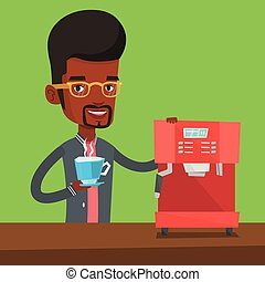 Man making coffee vector illustration. - An african-american...