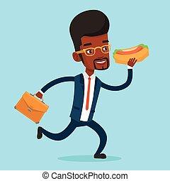 Businessman eating hot dog vector illustration.