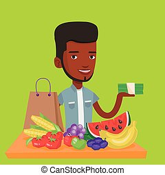 Man standing at the table with shopping bag. - An...