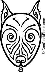 American Pit Bull Terrier Dog head stylized hand drawing...
