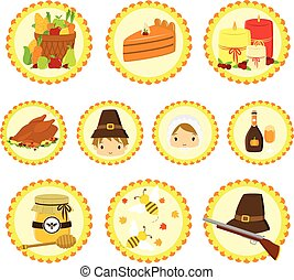 Thanksgiving Pilgrim Characters and Items Icon Set.