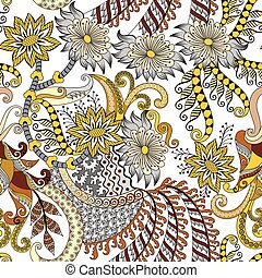 seamless pattern in yelow, brown and gray tint with  flowers, paisley and  decoraive elemenents