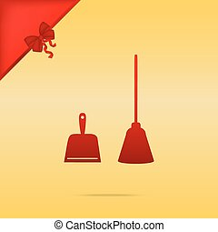 Dustpan vector sign. Scoop for cleaning garbage housework dustpan equipment. Cristmas design red icon on gold background.