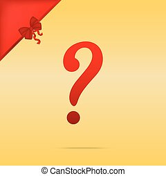 Question mark sign. Cristmas design red icon on gold background.