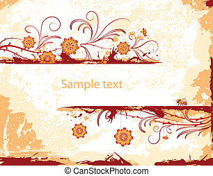 Abstract floral frame - Abstract grunge floral frame with...