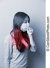 A Woman coughing with mask