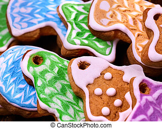 Set of colored cookies close up. Gingerbread Christmas trees...