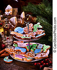 Christmas cookies on Tiered, Cookie, Stand. - large number...
