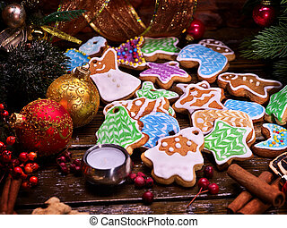 Christmas cookies on a wooden table. - Christmas cookies on...
