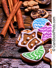 Cookies in the shape of stars, crescents. - Cookies in the...