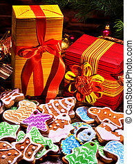 Gifts for the whole family at Christmas. Many cookies and...