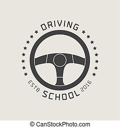 Driving license school vector logo, sign, emblem. Steering...