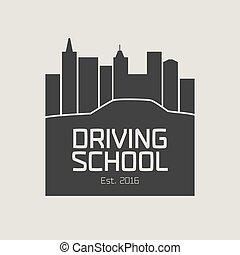 Driving license school vector logo, sign, emblem. Car...
