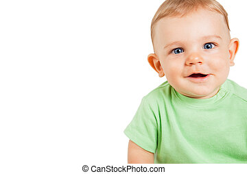 Boy child with funny cute expression isolated