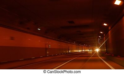 The road to the mountain cluster. Tunnel. Sochi, Russia