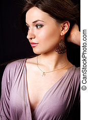 Glamour portrait of elegant woman with classical earrings -...
