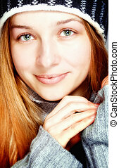 Cute young content woman in winter clothes - Beautiful young...