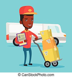 Delivery courier with cardboard boxes. - An african-american...