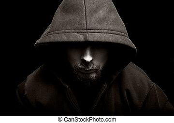 asustadizo, mal, hombre, capucha, Oscuridad