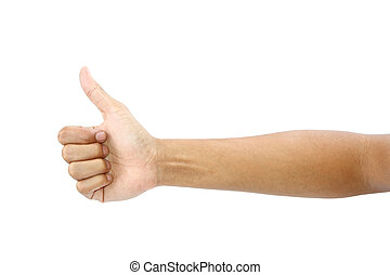 Thumb up hand sign isolated with clipping path.
