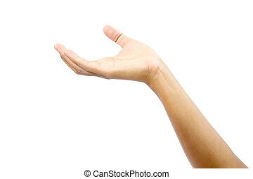 Empty man's hand sign isolated with clipping path. - Empty...