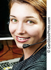 Friendly and happy service customer female worker - Friendly...