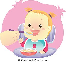 Little Baby Girl eating eating Soup