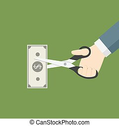 Hand Cutting Money With Scissor, Cut cost - People Hand...