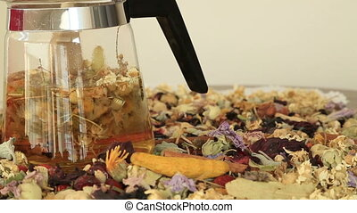 Teapot with different kind of healing herbs - Overhead view...