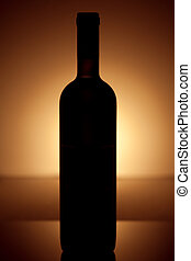 Wine bottle silhouette in vintage style