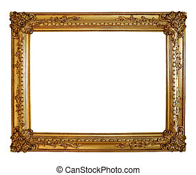 Gold photo frame isolated with clipping path.