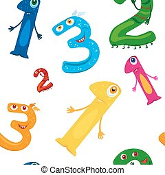Cute monster 123 numeral seamless pattern