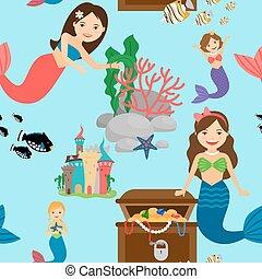 Cartoon mermaid seamless pattern - Cartoon mermaid, fishes...