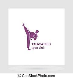 Taekwondo sport club logo design presentation on white....