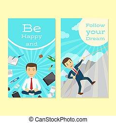 Motivation flyer design for office man