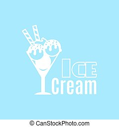 Ice cream blue vintage logo template - Ice cream vintage...