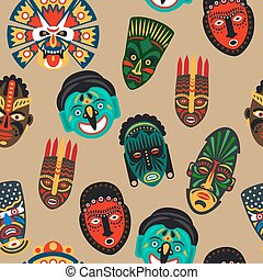 African mask seamless pattern - Vector illustration african...