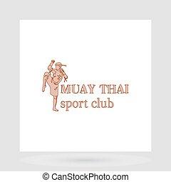 Muay thai fight club logo design presentation with man...