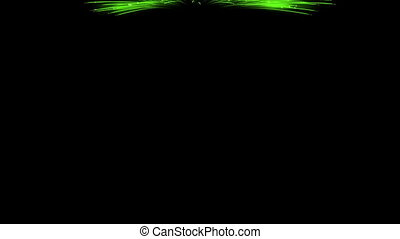 Spectacular Fireworks show, green linear fireworks, multiple...