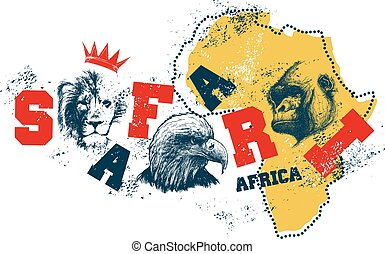 Africa map with animal faces.