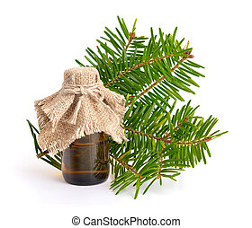 Firs (Abies) essential oil. Isolated on white background.