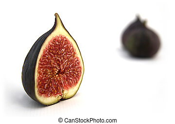 Halved fig isolated on white - Fig isolated on white, macro