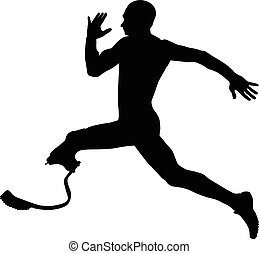 athlete disabled amputee explosive running Illustrator...