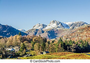 Langdale Pikes over Elterwater village, English Lake...