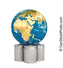 concept, illustrateur, aide, déchets, Planète, Planète,...